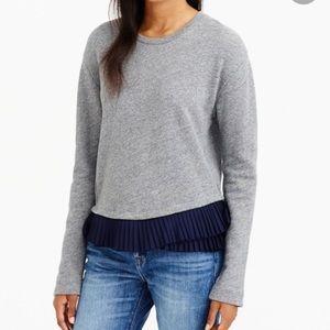 J. Crew Ruffle Hem Accent Gray Sweatshirt Sz L